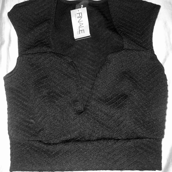 privately privileged Tops - New with tags! V neck black crop top